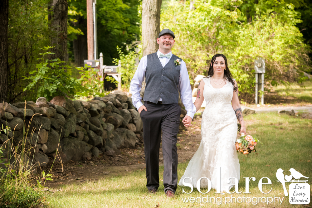Bride and groom, Gould Barn, Topsfield Commons 1854 Wedding