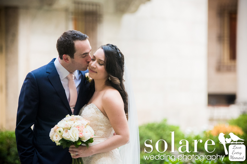 Bride and groom portraits, Boston Public Library wedding photos, The Lenox Boston Wedding Photography