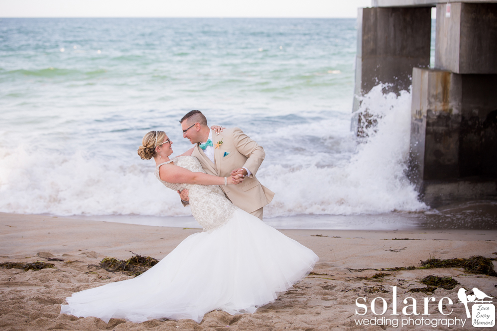 Blue Ocean Event Center Wedding Bride and Groom portraits on the beach