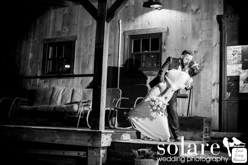 Pitman's Freight Room wedding bride and groom portrait
